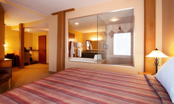 Signature King Room with one-person jetted tub, spa shower, and glass walls.
